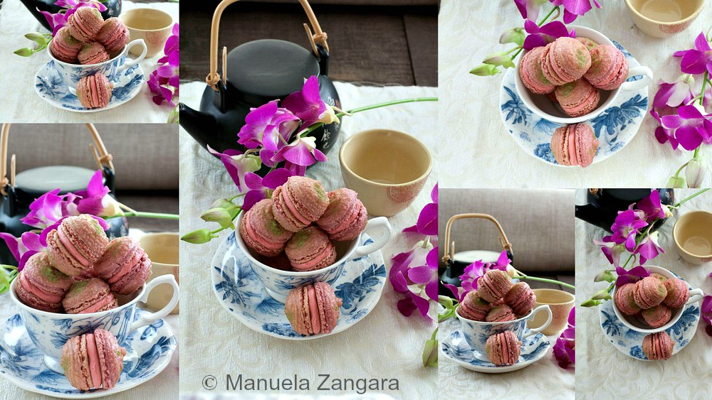 Orchid and Matcha Macarons