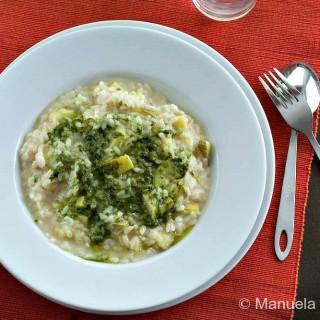 Risotto with Zucchini and Pesto