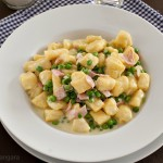 Saffron Gnocchi with Ham and Peas