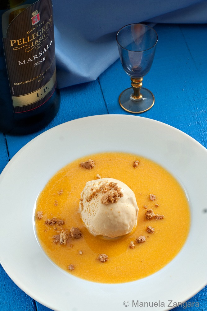 Marsala Gelato with Pumpkin Sauce