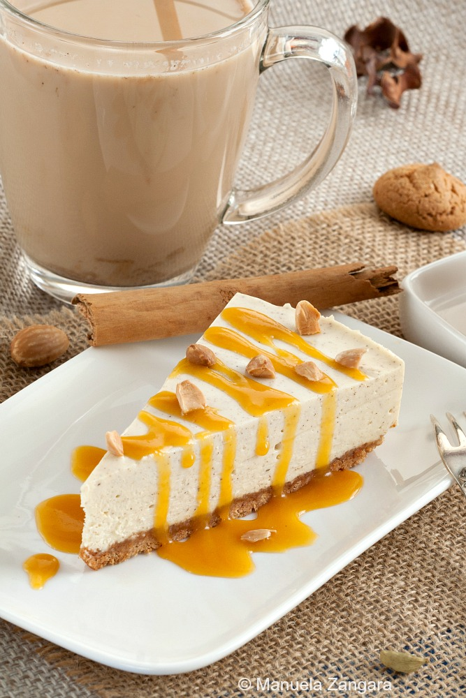 Chai Cheesecake with Pumpkin Butterscotch Sauce