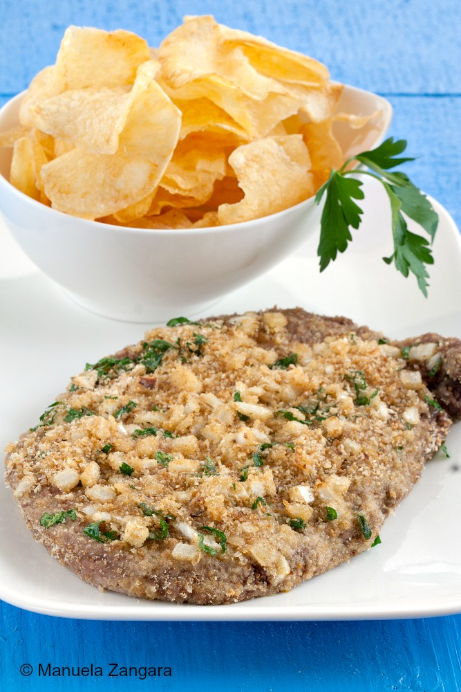 Onion Crusted Scotch Fillet with Home-made Chips
