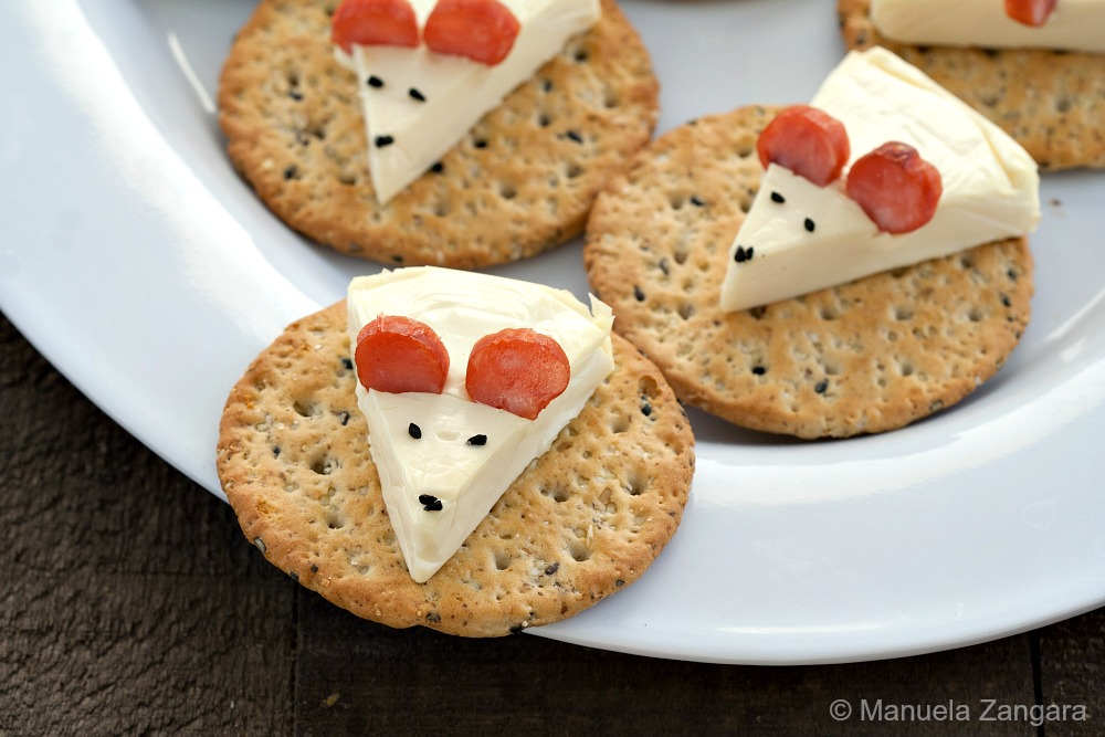 Cheese Mice on Crackers