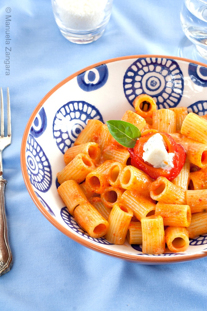 Pasta with Bell Pepper and Gorgonzola Cream