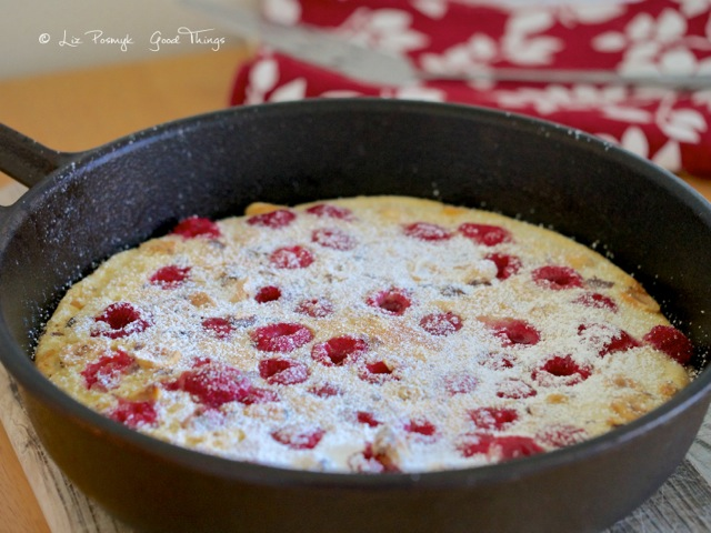 Raspberry Dutch Baby Pancake with Hazelnuts