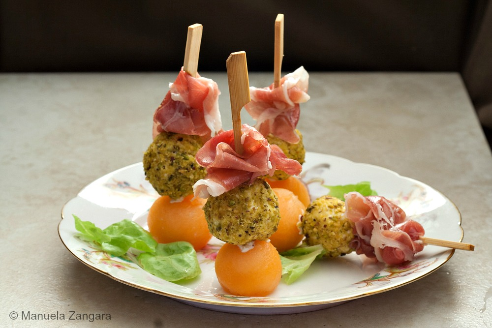 Prosciutto, Goat's Milk Ricotta and Rockmelon Skewers