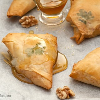 Blue Cheese, Pear and Walnut Triangles