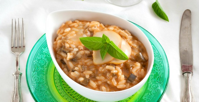 Eggplant and Smoked Scamorza Risotto