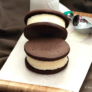 Chocolate and Vanilla Ice Cream Cookie Sandwiches