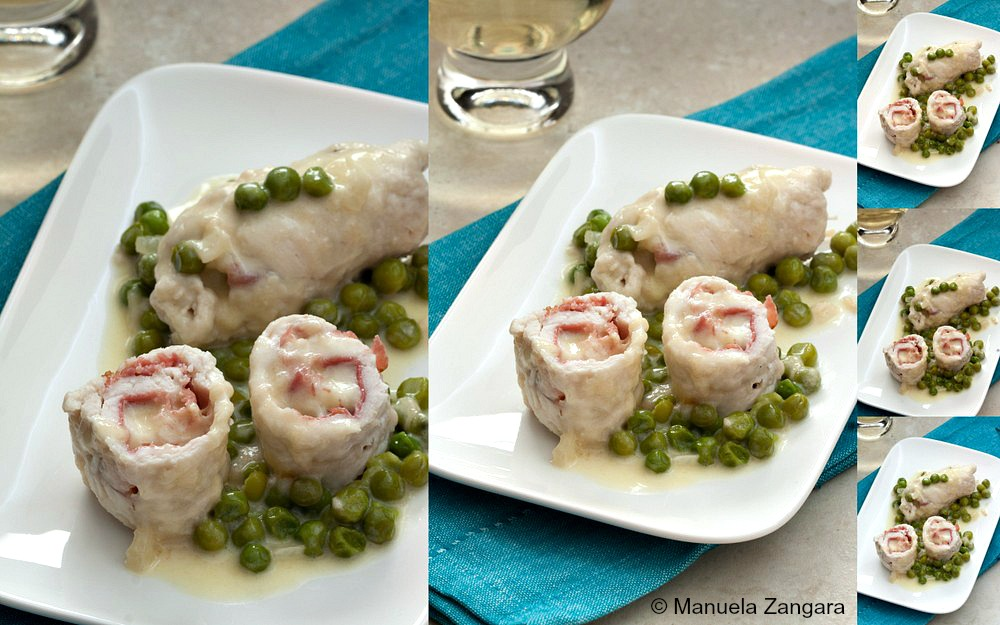 Chicken Involtini with Fontina, Speck and Peas