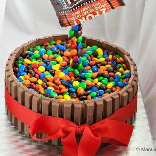Gravity Defying M&M's Kit Kat Cake