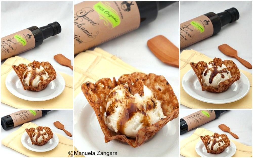 Pear Gorgonzola Gelato in Hazelnut Balsamic Tuiles