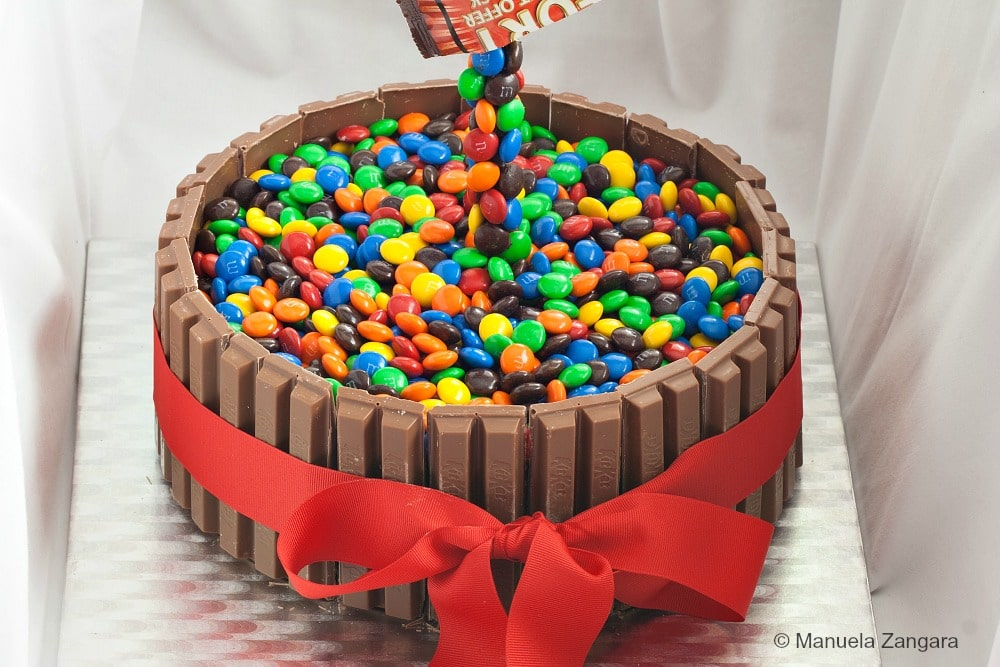 Gravity Defying MMs Kit Kat Cake