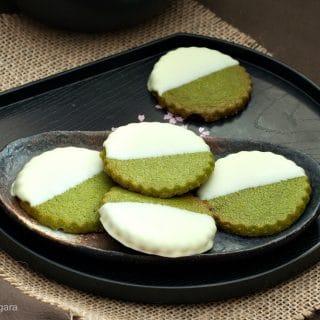 Matcha White Chocolate Shortbread Cookies