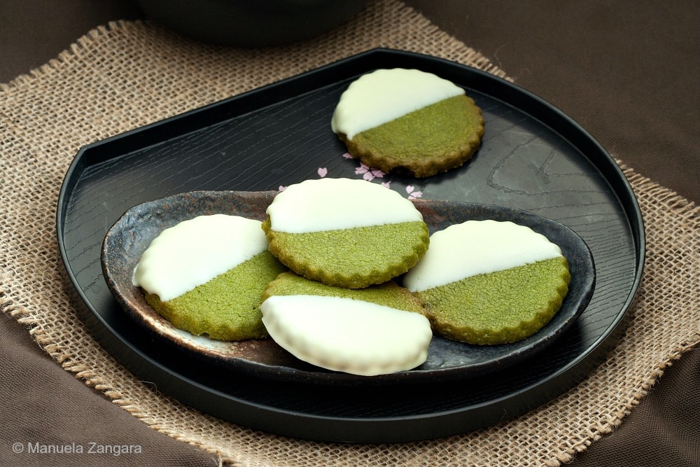 Matcha White Chocolate Shortbread Cookies