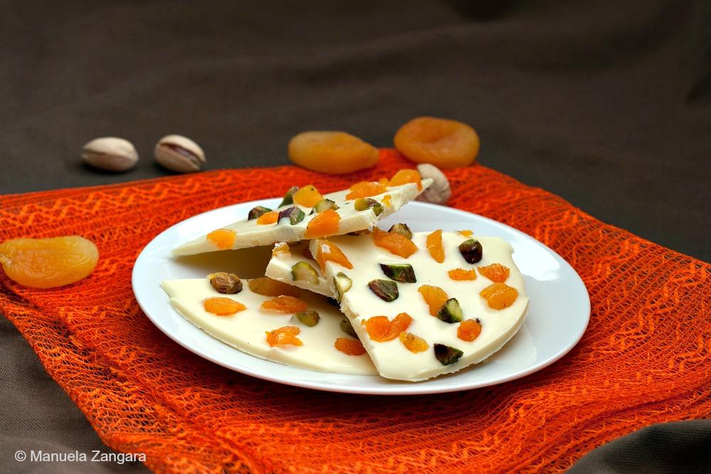 White Chocolate Apricot Pistachio Bark