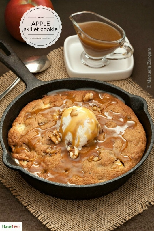 Apple Skillet Cookie with Maple Butterscotch Sauce