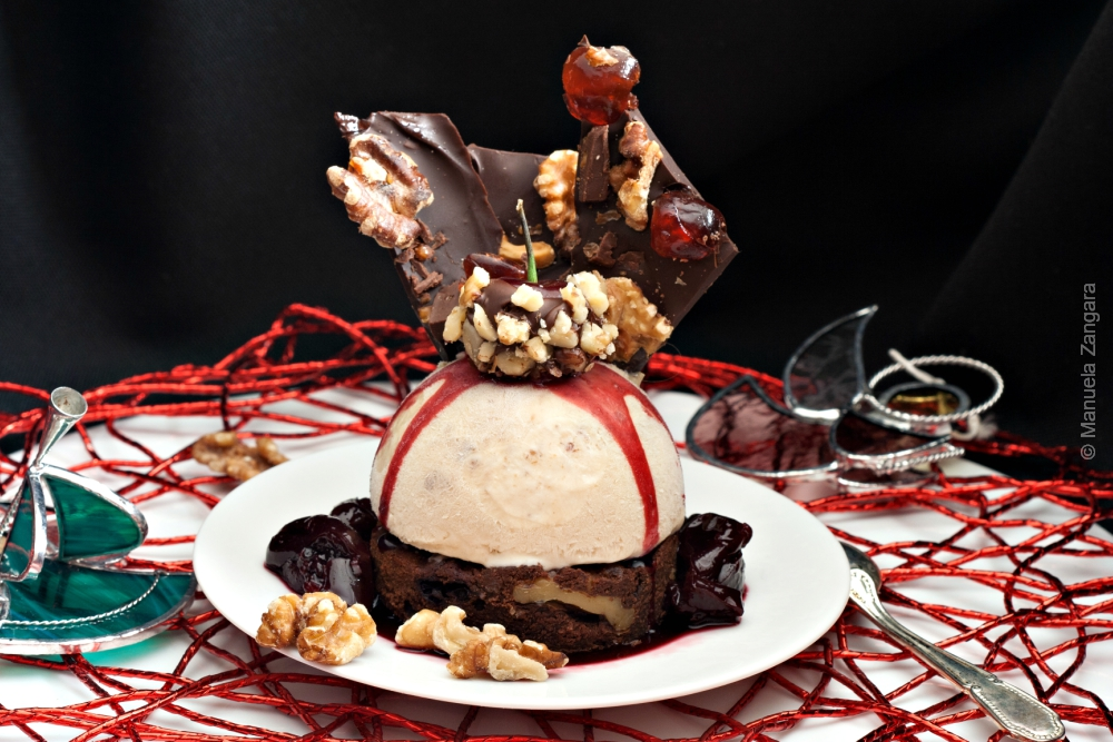Walnut Semifreddo with Walnut Cherry Brownies and Cherry Compote