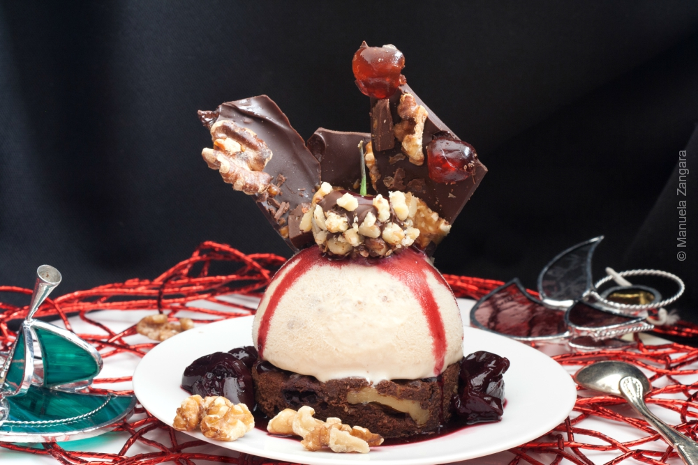 Walnut Semifreddo with Walnut Cherry Brownies and Cherry Compote