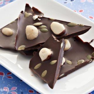 Low Fodmap Dark Chocolate Macadamia Bark